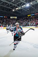KELOWNA, CANADA - MAY 1: Riley Stadel #3 of Kelowna Rockets celebrates a goal against the Portland Winterhawks during the first period of game 5 of the Western Conference Final on May 1, 2015 at Prospera Place in Kelowna, British Columbia, Canada.  (Photo by Marissa Baecker/Getty Images)  *** Local Caption *** Riley Stadel;