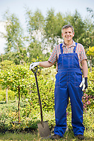 Full-length portrait of confident gardener holding spade in plant nursery