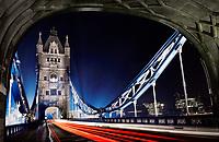 Tower Bridge in London, at night