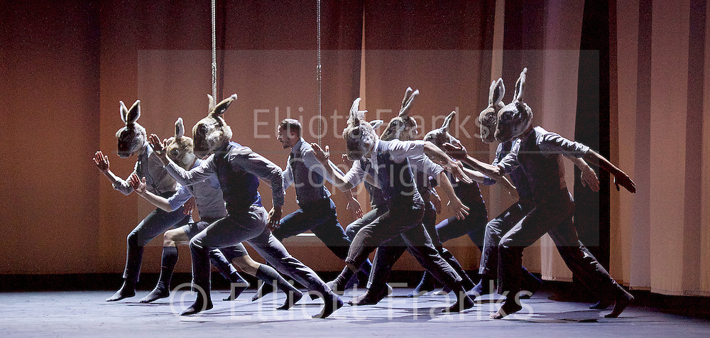 Balletboyz<br /> Life<br /> at Sadler&rsquo;s Wells, London, Great Britain <br /> Rabbit by  Pontus Lidberg <br /> rehearsal <br /> 20th April 2016 <br /> <br /> Andrea Carruciu<br /> Bradley Waller<br /> Edward Pearce<br /> Flatten Esmieu<br /> Harry Price<br /> Jordan Robson<br /> Matthew Rees <br /> Matthew Sanford<br /> Simone Donati <br /> Mark Galvez<br /> <br /> <br /> Photograph by Elliott Franks <br /> Image licensed to Elliott Franks Photography Services