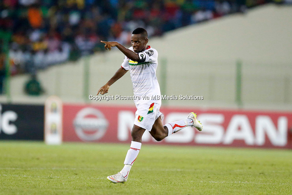 Ibrahima Traore (8) the captain of Guinea celebrates after scoring against Cameroon during their AFCON match at the Nueva Estadio de Malabo on January 24, 2015.The match ended 1-1.Photo/Mohammed Amin/www.pic-centre.com (Equatorial Guinea)