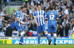 Lewis Dunk ( C ) of Brighton & Hove Albion celebrates after scoring to make it 1-0 - Mandatory by-line: Paul Terry/JMP - 16/05/2016 - FOOTBALL - Amex Stadium - Brighton, England - Brighton and Hove Albion v Sheffield Wednesday - Sky Bet Championship Play-off Semi-final second leg