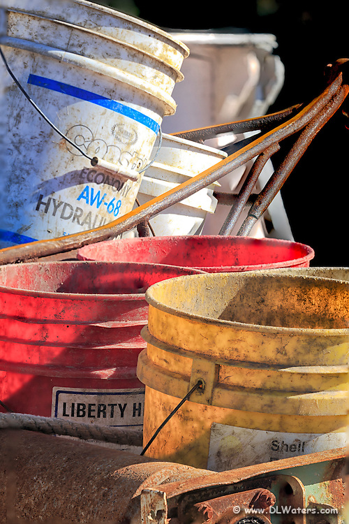Old buckets in Swan Quarter North Carolina.