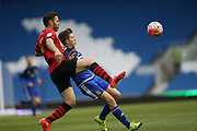 Eastbourne Borough's CRAIG STONE and Worthing's HARVEY SPARKS during the Sussex Senior Cup Final match between Eastbourne Borough and Worthing FC at the American Express Community Stadium, Brighton and Hove, England on 20 May 2016.