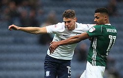 Calum Woods of Preston North End (L) and Ollie Watkins of Brentford in action - Mandatory by-line: Jack Phillips/JMP - 28/10/2017 - FOOTBALL - Deepdale - Preston, England - Preston North End v Brentford - Football League Championship