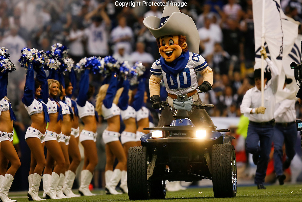 "15 Sept 2008: Dallas Cowboys mascot ""Rowdy"" enters the field on his ATV before the game against the Philadelphia Eagles on September 15th, 2008. The Cowboys beat the Eagles 41-37 at Texas Stadium in Irving, Texas."