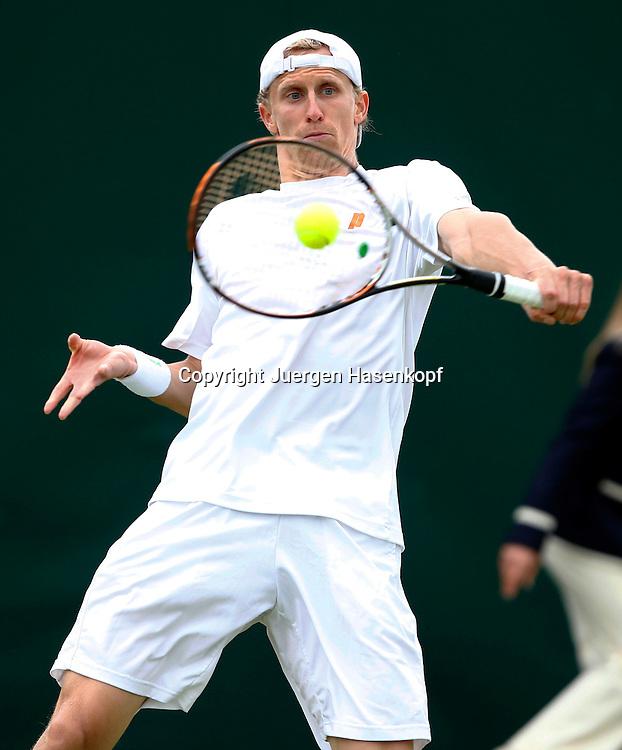 Wimbledon Championships 2013, AELTC,London,<br /> ITF Grand Slam Tennis Tournament, Bastian Knittel(GER),Aktion,Einzelbild,<br /> Halbkoerper,Hochformat,