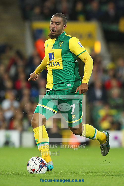 Lewis Grabban of Norwich in action during the Capital One Cup match at Carrow Road, Norwich<br /> Picture by Paul Chesterton/Focus Images Ltd +44 7904 640267<br /> 23/09/2015
