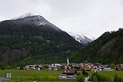 Längenfeld, Tyrol, Austria. View over Längenfeld from AQUA DOME.