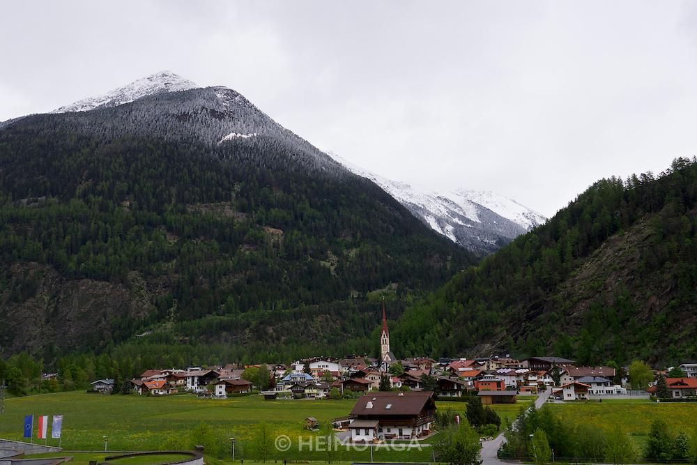 Längenfeld, Tyrol, Austria. View over Längenfeld from AQUA DOME.