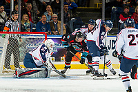 KELOWNA, CANADA - OCTOBER 13: Mark Liwiski #9 of the Kelowna Rockets is back checked by Mitchell Brown #5 of the Tri-City Americans  on October 13, 2018 at Prospera Place in Kelowna, British Columbia, Canada.  (Photo by Marissa Baecker/Shoot the Breeze)  *** Local Caption ***