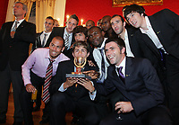 20090528: FUNCHAL, PORTUGAL Ð Nacional Madeira striker Nene receives the Golden Ball, after scoring 20 goals on the Portuguese League 2008/2009. Nene is being followed by SL Benfica, FC Porto, Arsenal, Lyon, AS Roma and Hamburg, among other teams. In picture: Nene and friends for Nacional Team . <br />