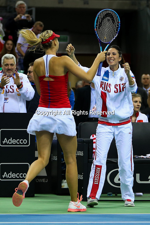 08.02.2015. Krakow, Poland, Fed Cip international tennis tournement, Poland versus Russia.  Maria Sharapova (RUS), Anastasia Myskina (RUS), radosc