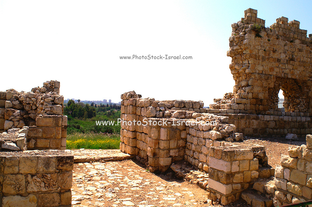 Tel Afek, Israel. The Binar Bashi fortress was built in 1571 on top of an ancient tell (mound composed of the remains of successive settlements). The fortress offers a fine view of the Rosh Ha'ayin (or Yarkon) springs, which flow at the foot of Tel Afek.
