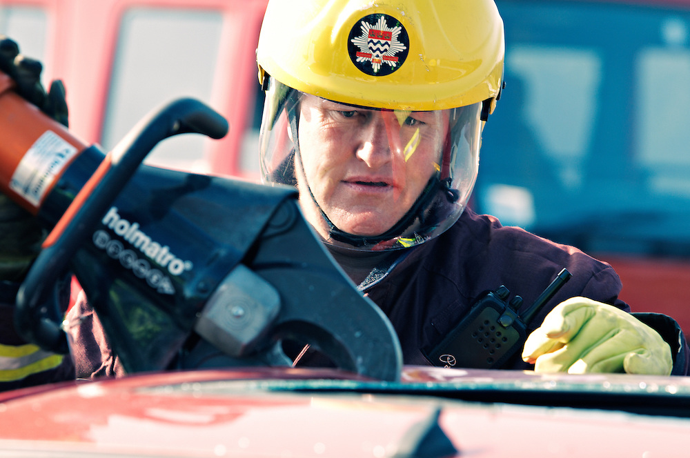 Close-up of fire fighter during traing exercise.