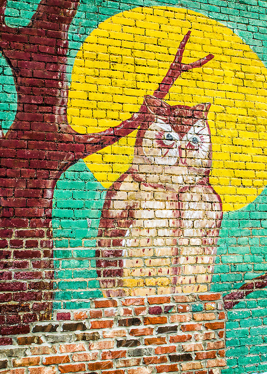 A whimsical owl is part of a vintage mural advertising Oil Cigars in downtown West Point, Mississippi. (Photo by Carmen K. Sisson/Cloudybright)