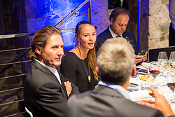Andrea Massi, Tina Maze at Official dinner ahead to the UEFA Futsal EURO 2018 Draw, on September 28, 2017 in Ljubljanski grad, Ljubljana, Slovenia. Photo by Vid Ponikvar / Sportida