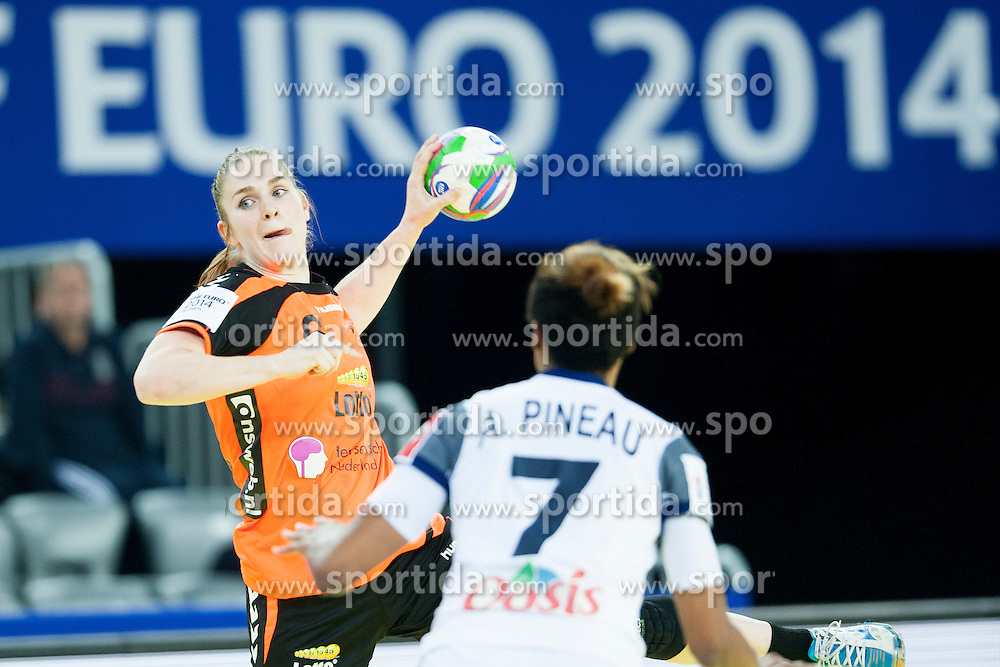 Laura Van Der Heijden #6 of Netherlands and Allison Pineu #7 of France at handball match between Netherlands and France at 11th EHF European Women's Handball Championship Hungary-Croatia 2014, on December 17, 2014 in Arena Zagreb, Zagreb, Croatia. Photo By Urban Urbanc / Sportida