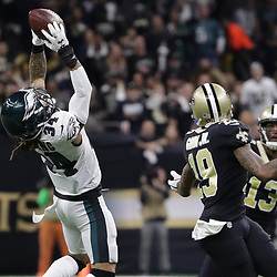 Jan 13, 2019; New Orleans, LA, USA; Philadelphia Eagles cornerback Cre'von LeBlanc (34) intercepts a pass against New Orleans Saints wide receiver Ted Ginn (19) during the first quarter a NFC Divisional playoff football game at Mercedes-Benz Superdome. Mandatory Credit: Derick E. Hingle-USA TODAY Sports