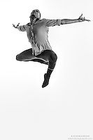 Black and white dance photography- Leap of Faith- featuring Dance As Art dancer Jarrett Rashad