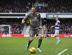 Leicester City's Jamie Vardy is angry with being flagged for off-side when clean through on goal - Photo mandatory by-line: Robin White/JMP - Tel: Mobile: 07966 386802 21/12/2013 - SPORT - FOOTBALL - Loftus Road - London - Queens Park Rangers v Leicester City - Sky Bet Championship