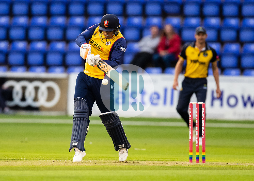 Cameron Delport of Essex hits a boundary<br /> <br /> Photographer Simon King/Replay Images<br /> <br /> Vitality Blast T20 - Round 8 - Glamorgan v Essex - Friday 9th August 2019 - Sophia Gardens - Cardiff<br /> <br /> World Copyright © Replay Images . All rights reserved. info@replayimages.co.uk - http://replayimages.co.uk