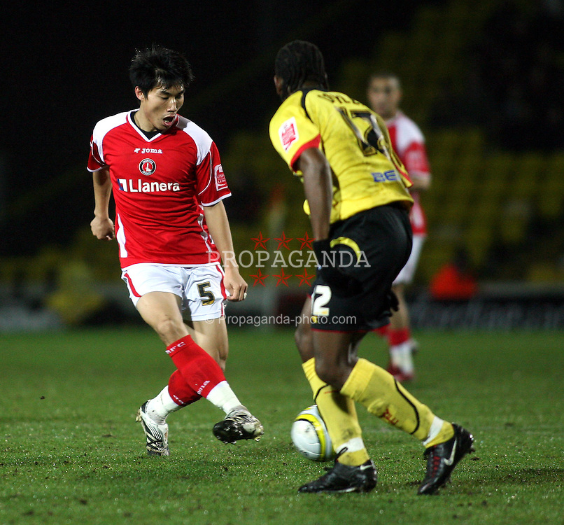 WATFORD, ENGLAND - Saturday, January 19, 2008: Charlton Athletic's Zheng Zhi in action against Watford  during the League Championship match at Vicarage Road. (Photo by Chris Ratcliffe/Propaganda)