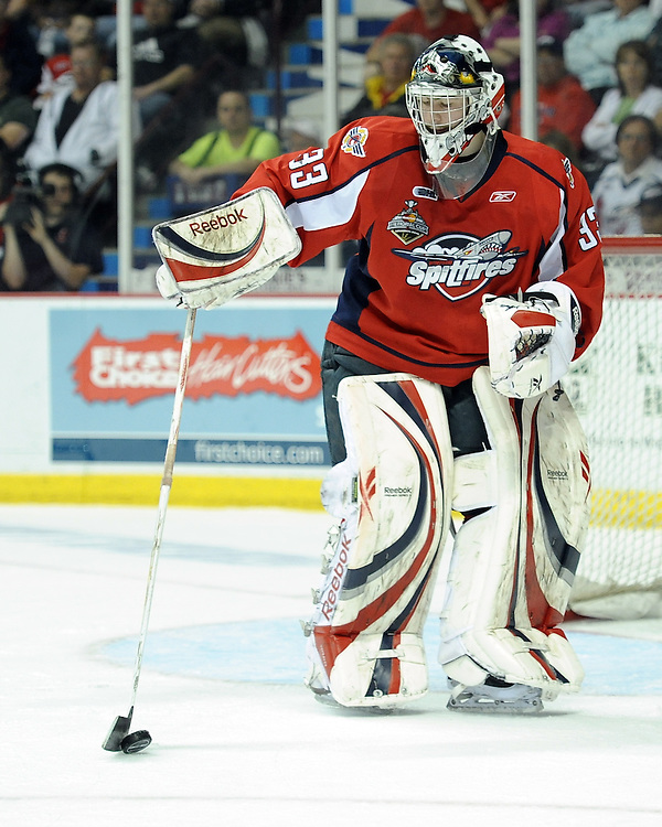 Philipp Grubauer of the Windsor Spitfires in Game 4 of the 2010 Rogers OHL Championship Series in Windsor on Tuesday May 4. Photo by Aaron Bell/OHL Images
