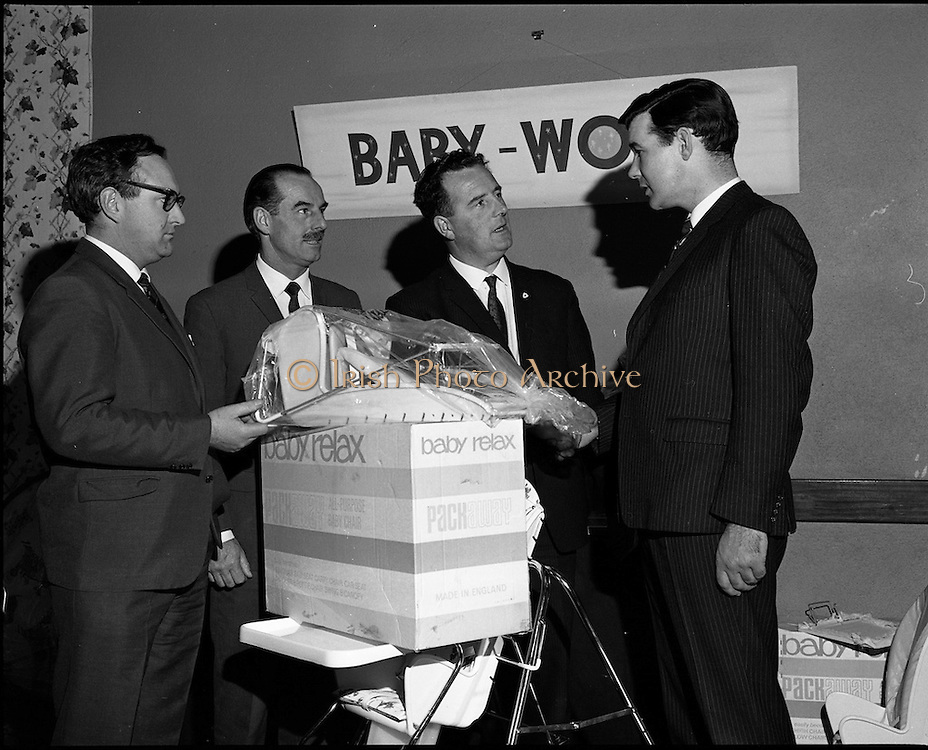 07/01/1969.01/07/1969.07 January 1969 .Clonmel Industries Ltd. exhibition at the Intercontinental Hotel, Dublin. Mr P.J. Lalor, T.D., parliamentary Secretary to the Minister for Posts and Telegraphs and Transport and Power, officially opened the Clonmel Industries Ltd. Trade Exhibition. The firm famous for its range of Tan Sad prams had formed a new company, Baby World Ltd. that provided a range of nursery products. theses included a baby seat, a high chair and a playpen.