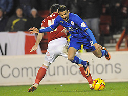 FORESTS ANDY REID BRINGS DOWN LEICESTERS RIYAD MAHREZ, Nottingham Forest v Leicester City, City Ground Nottingham,  Sky Bet Championship, 19th Febuary 2014