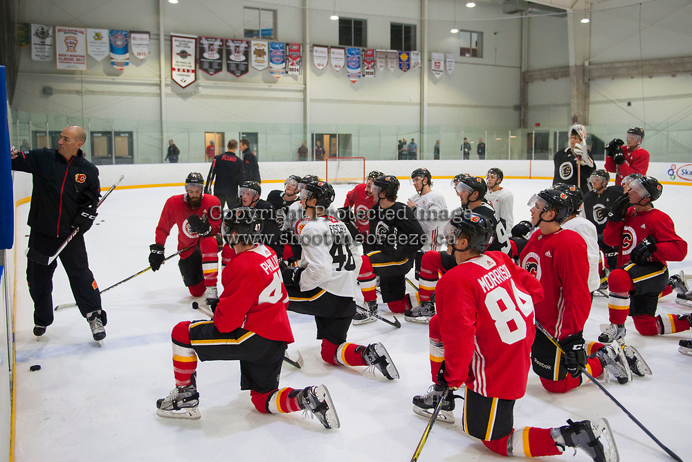 PENTICTON, CANADA - SEPTEMBER 9: Calgary Flames' head coach Ryan Huska goes over drills with the team during morning skate on September 9, 2017 at the South Okanagan Event Centre in Penticton, British Columbia, Canada.  (Photo by Marissa Baecker/Shoot the Breeze)  *** Local Caption ***