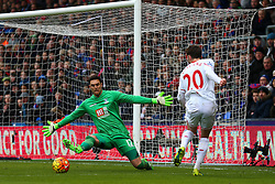 Adam Lallana of Liverpool passes across the penalty area, in front of Joe Gomez of Liverpool - Mandatory byline: Jason Brown/JMP - 07966386802 - 06/03/2016 - FOOTBALL - London - Selhurst Park - Crystal Palace v Liverpool - Barclays Premier League