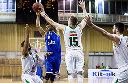 Darwin Davis Jr of Rogaska vs Devin Oliver #5 of KK Union Olimpija, Gregor Hrovat #15 of KK Union Olimpija and Nikola Jankovic #12 of KK Union Olimpija during basketball match between KK Union Olimpija and KK Rogaska in 2nd Final game of Liga Nova KBM za prvaka 2016/17, on May 19, 2017 in Hala Tivoli, Ljubljana, Slovenia. Photo by Vid Ponikvar / Sportida