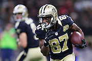 NEW ORLEANS, LA - NOVEMBER 27:  Tommylee Lewis #87 of the New Orleans Saints runs the ball against the Los Angeles Rams at Mercedes-Benz Superdome on November 27, 2016 in New Orleans, Louisiana.  The Saints defeated the Rams 49-21.  (Photo by Wesley Hitt/Getty Images) *** Local Caption *** Tommylee Lewis
