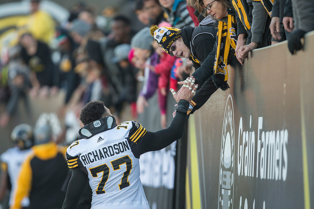 during _____ quarter CFL action in Hamilton on Sunday November 13, 2016.  (The Canadian Press/ Geoff Robins )