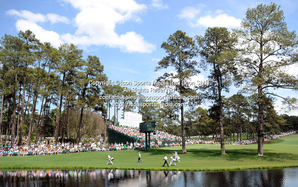 April 12, 2013 - Augusta, Georgia, U.S. - Adam Scott, left, Sergio Garcia and Angel Cabrera walk to the 16th green during the second round of the 2013 Masters Tournament at Augusta National Golf Club on Friday, April 12, 2013, in Augusta, Ga.