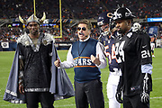 The ESPN Monday Night Countdown television commentators have some fun as they wear Halloween costumes while doing a sideline report during the Chicago Bears 2016 NFL week 8 regular season football game against the Minnesota Vikings on Monday, Oct. 31, 2016 in Chicago. The Bears won the game 20-10. (©Paul Anthony Spinelli)