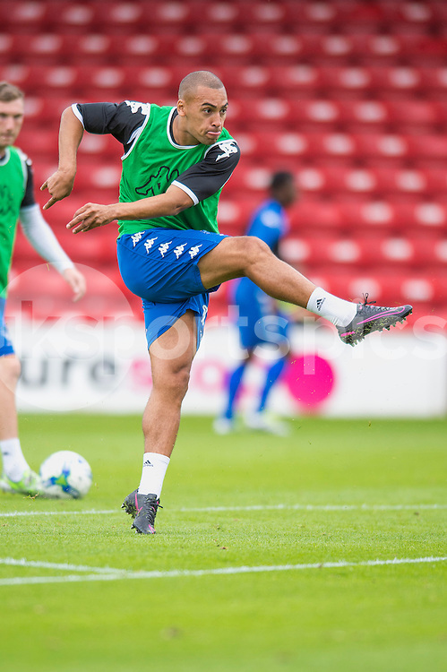 James Vaughan of Bury warms up ahead of the EFL Sky Bet League 1 match between Walsall and Bury at the Banks's Stadium, Walsall, England on 27 August 2016. Photo by Darren Musgrove.