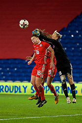 CARDIFF, WALES - Friday, November 24, 2017: Wales' Alice Griffiths and Kazakhstan's goalkeeper Oksana Zheleznyak during the FIFA Women's World Cup 2019 Qualifying Round Group 1 match between Wales and Kazakhstan at the Cardiff City Stadium. (Pic by David Rawcliffe/Propaganda)