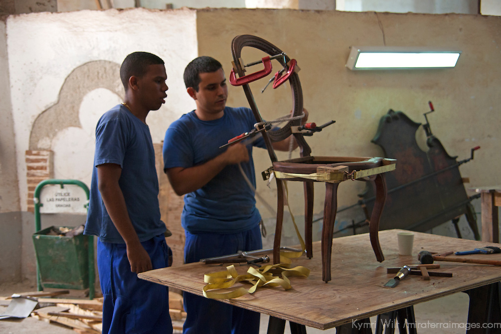 Central America, Cuba, Havana. Furniture restoration workshop in Havana.