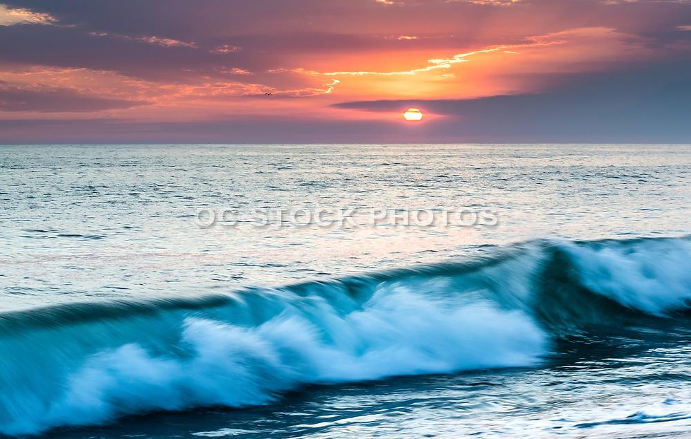 Crashing Waves At Tamarac Beach In Carlsbad At Sunset