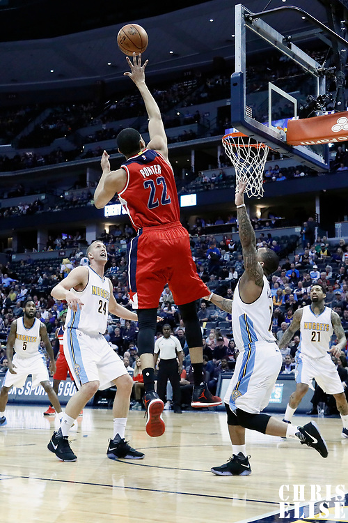 08 March 2017: Washington Wizards forward Otto Porter Jr. (22) goes for the jump shot during the Washington Wizards 123-113 victory over the Denver Nuggets, at the Pepsi Center, Denver, Colorado, USA.