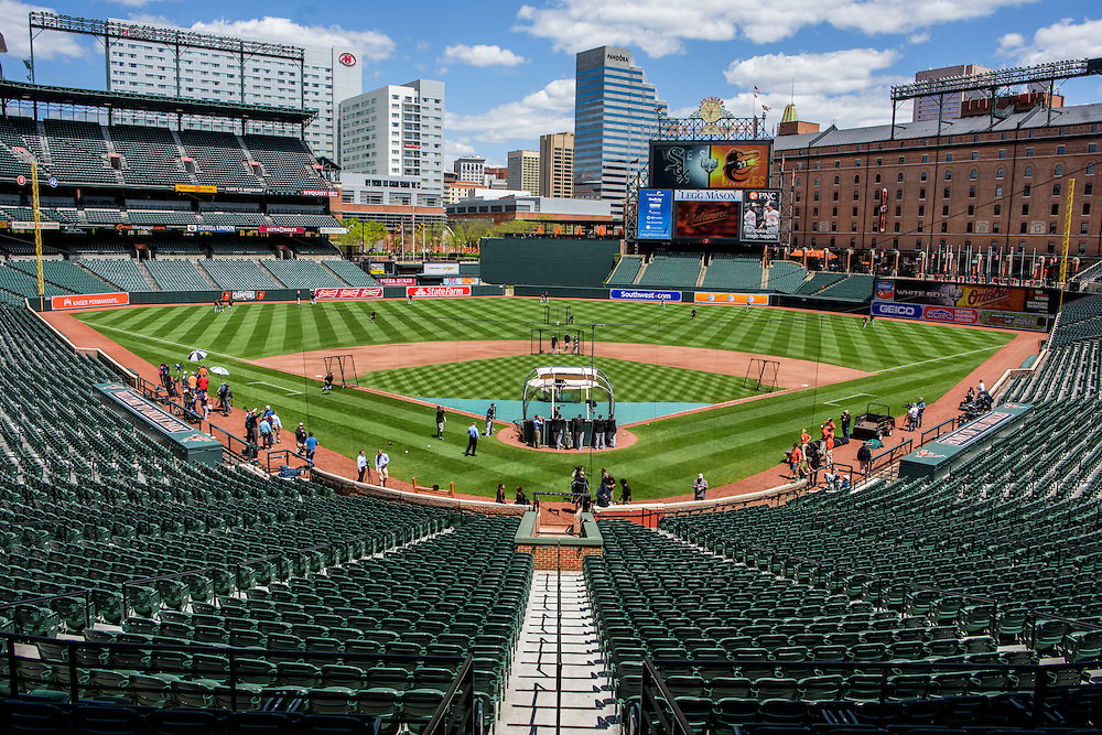 Baltimore, MD - April 29, 2015: White Sox conduct batting practice before playing to an empty Oriole Park at Camden Yards on April 29, 2015. The civil unrest in Baltimore has forced the game between the Chicago White Sox and Baltimore Orioles to be closed to the public and moved to the afternoon. (Matt Roth for ESPN)