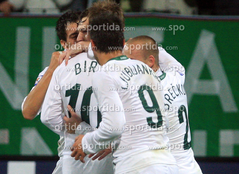 Slovenian players Branko Ilic (18), Milivoje Novakovic (11), Valter Birsa (10), Zlatan Ljubijankic (9) and Miso Brecko (2) celebrate first goal at the fourth round qualification game of 2010 FIFA WORLD CUP SOUTH AFRICA in Group 3 between Slovenia and Northern Ireland at Stadion Ljudski vrt, on October 11, 2008, in Maribor, Slovenia.  (Photo by Vid Ponikvar / Sportal Images)