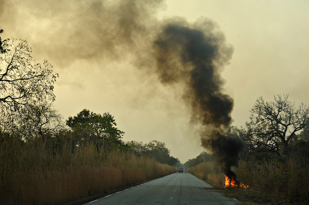 11-11-24  --  TOGO  -- Burning grass alongside a highway in Togo on November 24, 2011.    Photo by Daniel Hayduk
