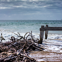 decaying wooden jetty