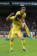 Edinson Roberto Paulo Cavani Gomez (psg) (El Matador) (El Botija) (Florestan) scored a goal from the boall served by Neymar da Silva Santos Junior - Neymar Jr (PSG), celebration during the French championship L1 football match between EA Guingamp v Paris Saint-Germain, on August 13, 2017 at the Roudourou stadium in Guingamp, France - Photo Stephane Allaman / ProSportsImages / DPPI
