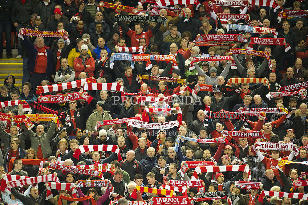 LIVERPOOL, ENGLAND - Wednesday, January 25, 2012: Liverpool's supporters during the Football League Cup Semi-Final 2nd Leg match against Manchester City at Anfield. (Pic by David Rawcliffe/Propaganda)