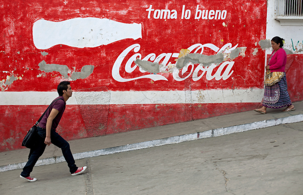 2012-01-28 Olintepeque, Guatemala. Coca cola adverticing painted on wall. Photo: Markus Marcetic