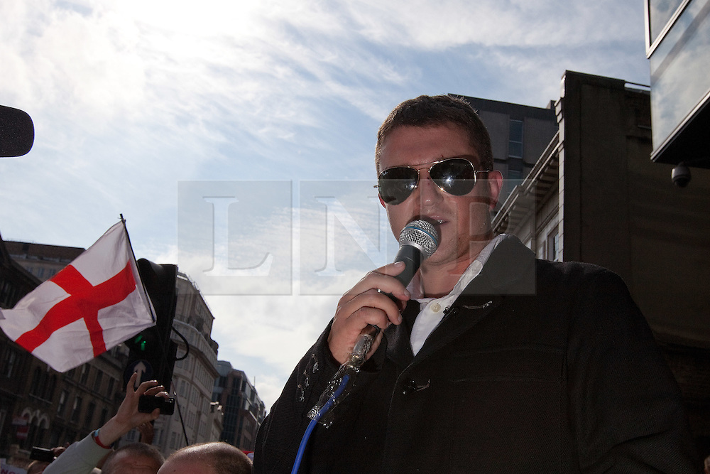 © licensed to London News Pictures. FILE PICTURE OF STEPHEN LENNON AT AN EDL RALLY IN LONDON, DATED 03/09/2011. UK 24/04/2012. Campaigning organisation Hope Not Hate report that EDL leader Stephen Yaxley Lennon (aka Tommy Robinson) is to be appointed deputy leader of the British Freedom Party. Please see special instructions for usage rates. Photo credit should read Joel Goodman/LNP